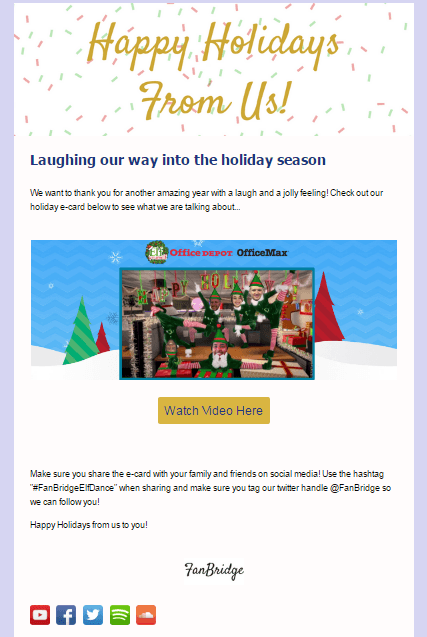 Holiday email campaign with behind the scenes content