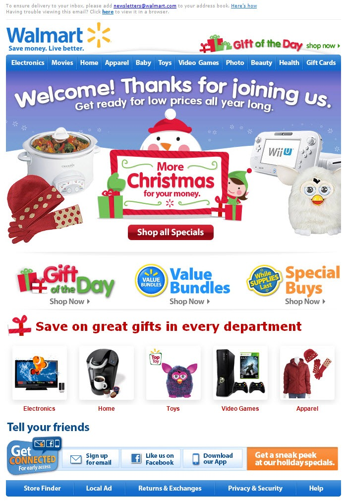 Walmart triggered welcome email for Christmas