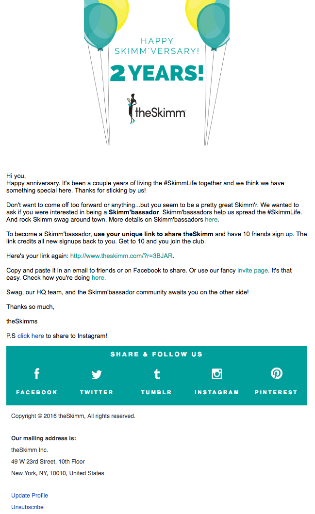 The Skimm's email campaign with social sharing options