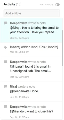 Hiver Email Notes conversation