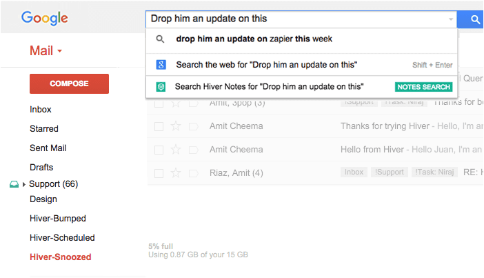 Email Notes Search