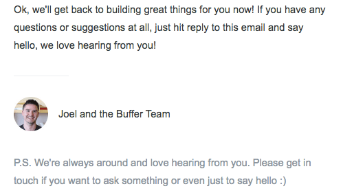 Buffer encouraging customers to give feedback
