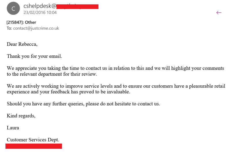 Customer Service email