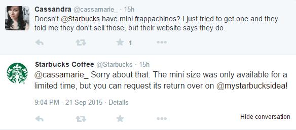 Starbucks response to angry customers