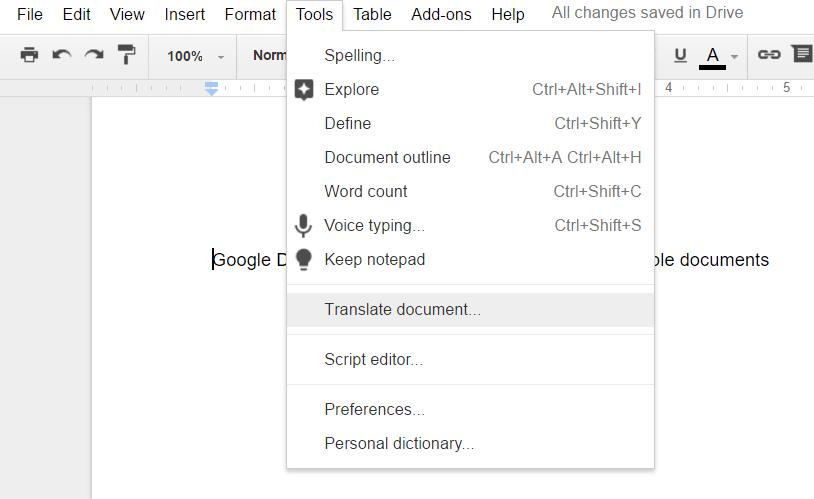 Google Docs Translating Docs