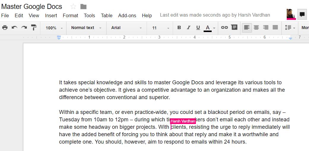 Google Docs collaboration edit