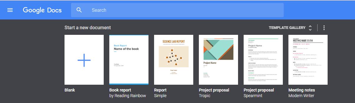 Google Docs main page