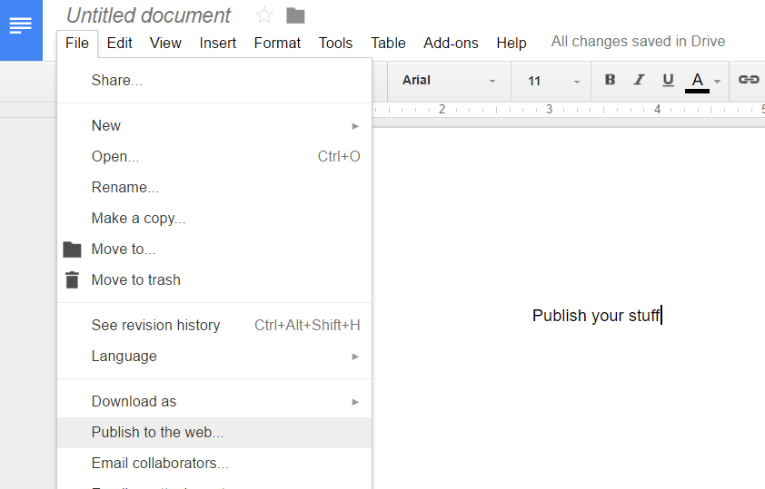 Google Docs publishing docs on the web