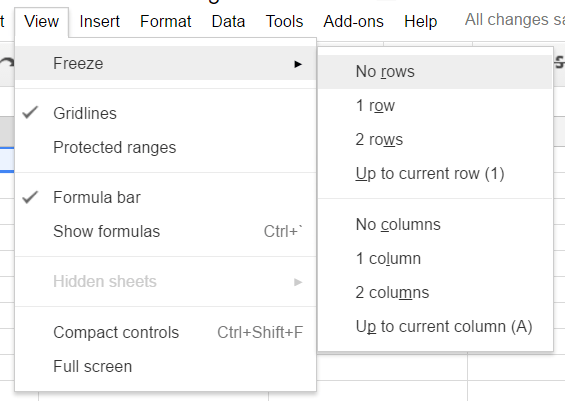 Google Sheets Freeze