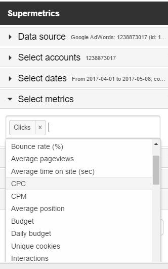 Google Sheets add-ons supermetrics