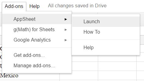 Google Sheets appsheet 1