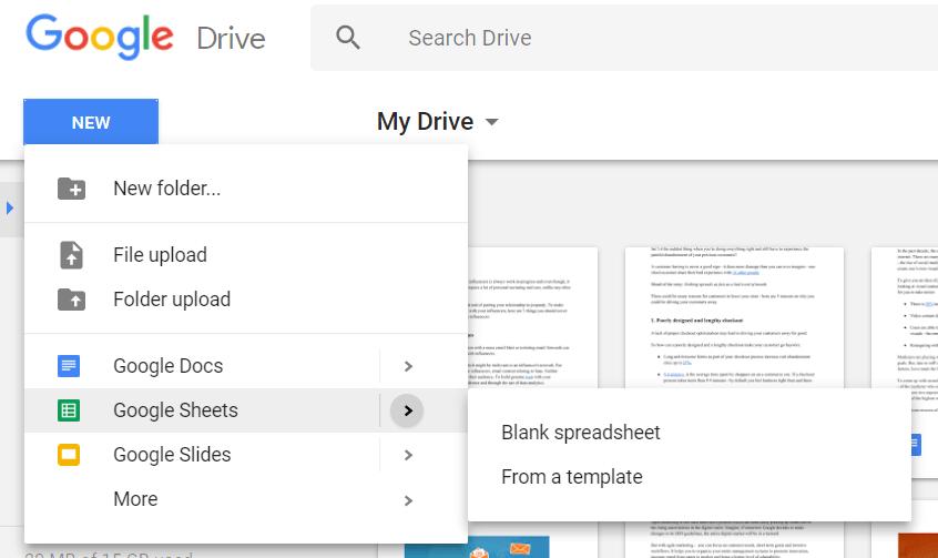 Google Sheets create spreadsheet 2