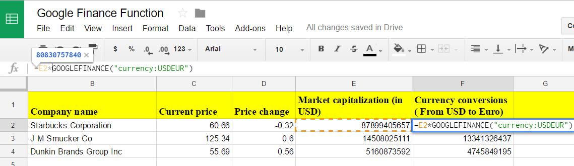 Google Sheets finance 9