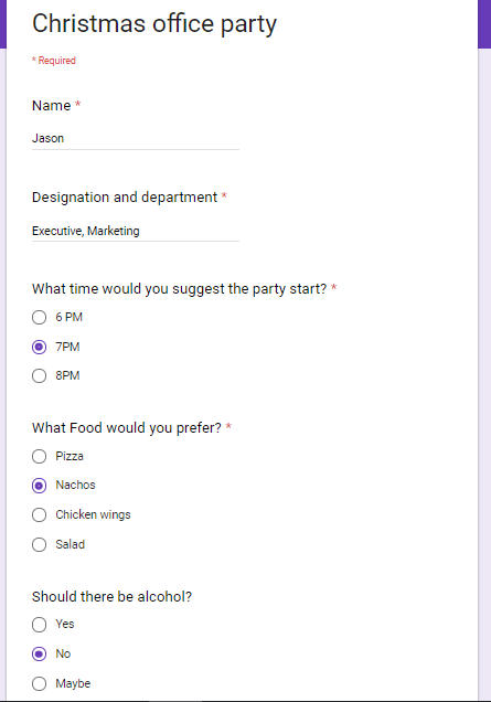 Google Sheets form