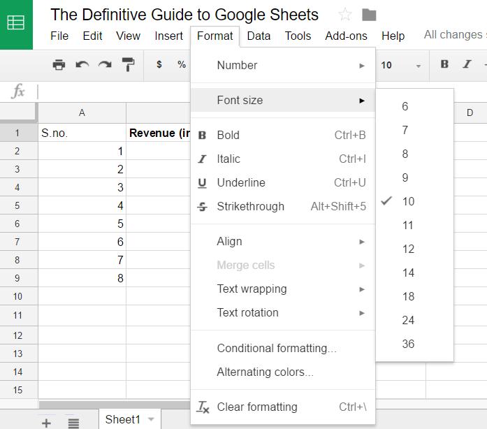 Google Sheets format 3