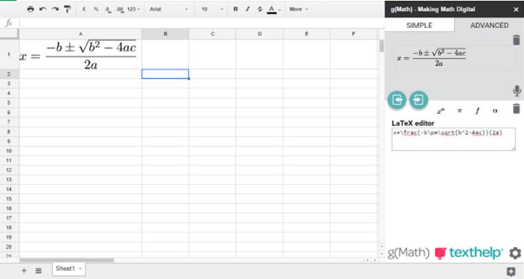 Google Sheets g math for sheets