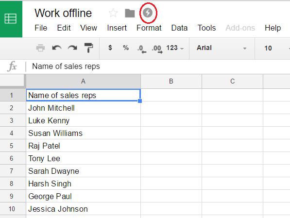 Google Sheets offline 3