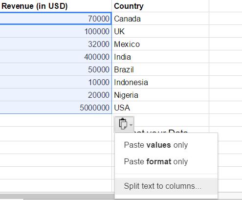Google Sheets split data