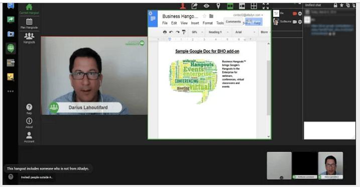 Google docs add-ons Business Hangouts for Docs