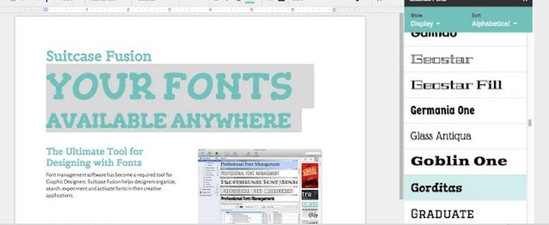 Google docs add-ons Extensis Fonts
