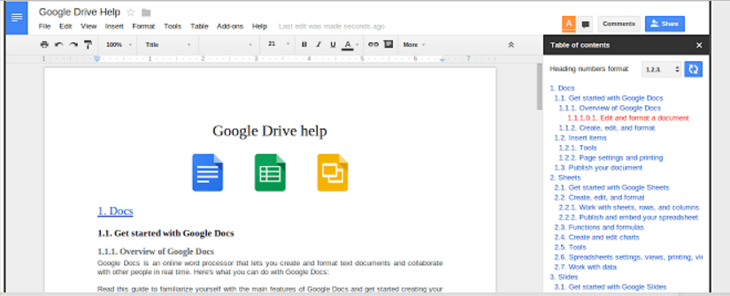 Google docs add-ons Table of contents