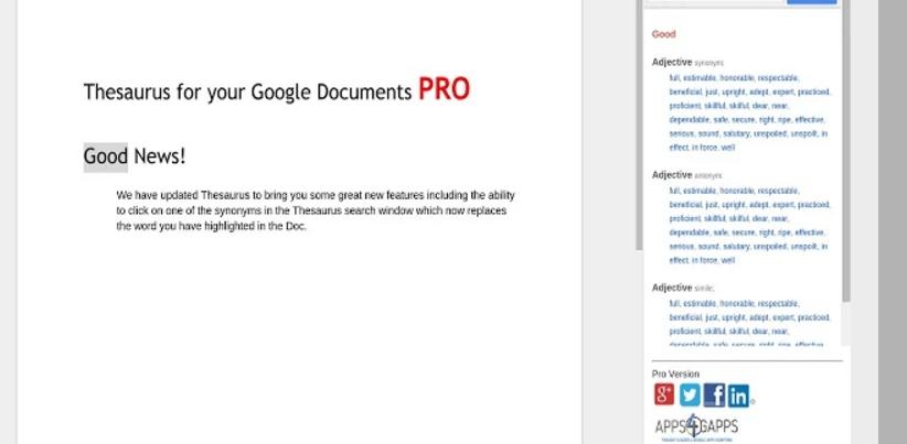 Google docs add-ons Thesaurus