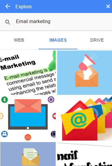 Google docs explore images