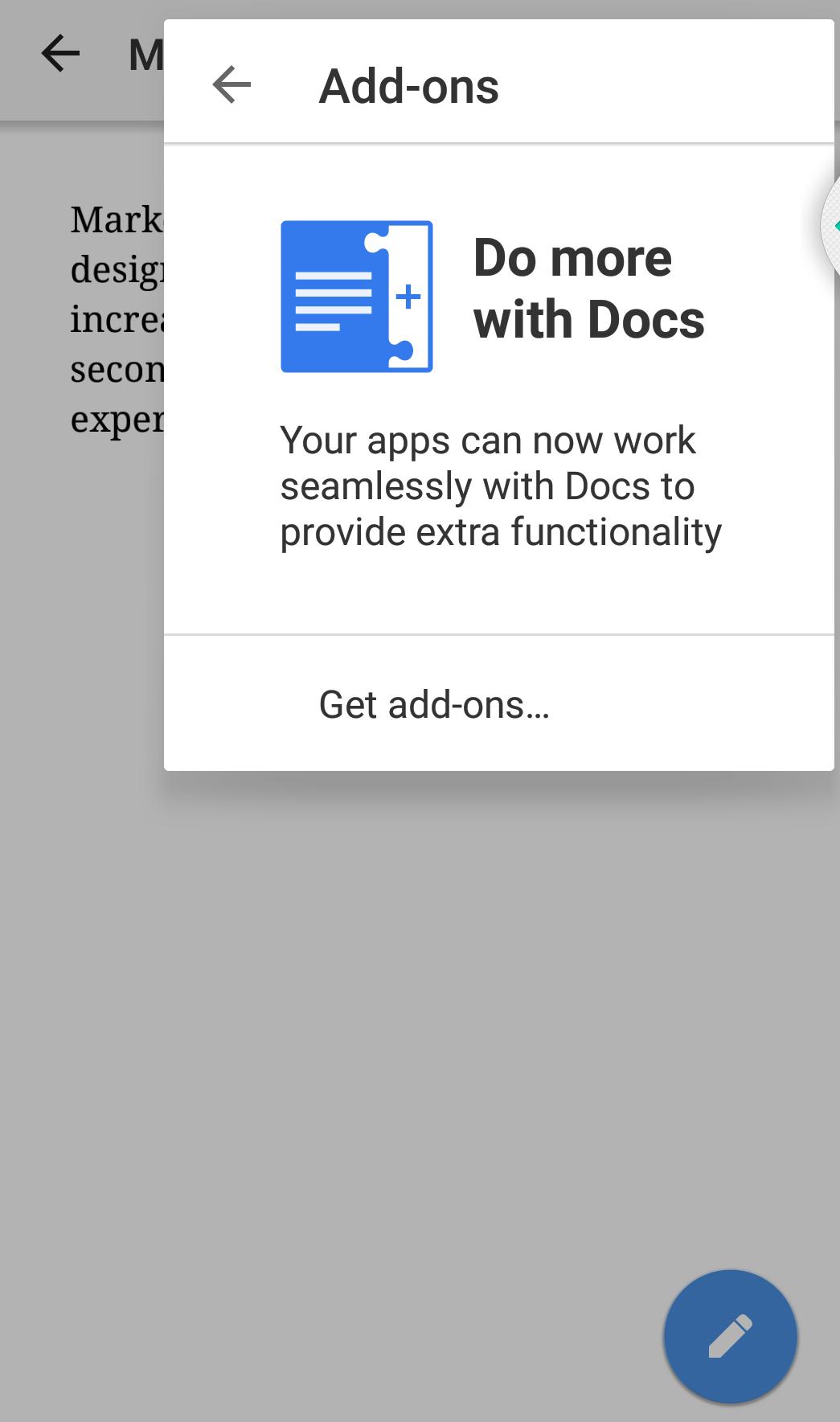 Google docs mobile app add-ons