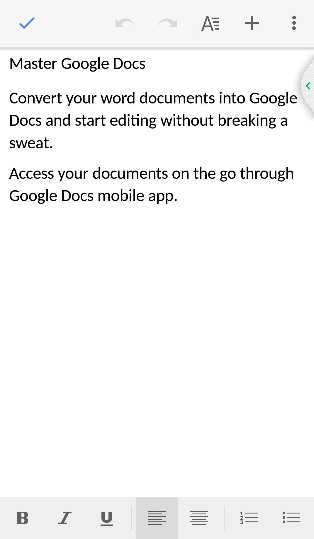 Google docs mobile Microsoft word