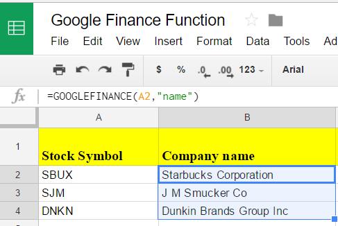 Google sheets finance 2