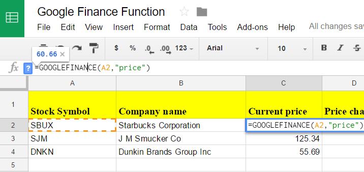 Google sheets finance 3