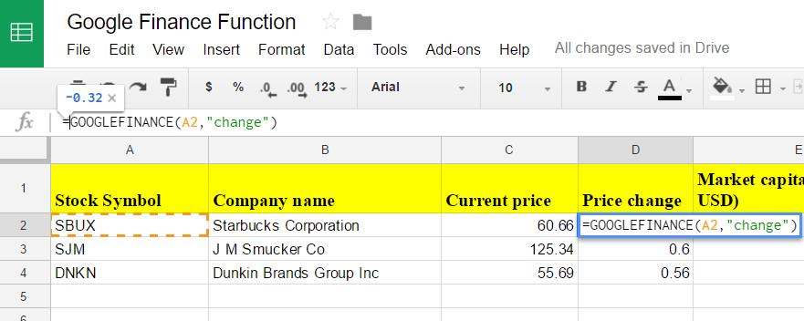 Google sheets finance 5