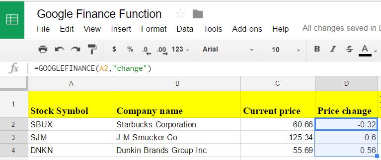 Google sheets finance 6