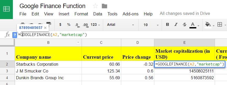 Google sheets finance 7