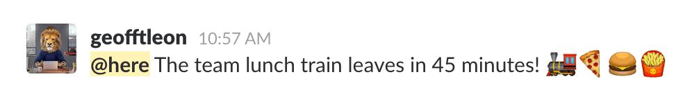 Slack @here _ notify all active teammates