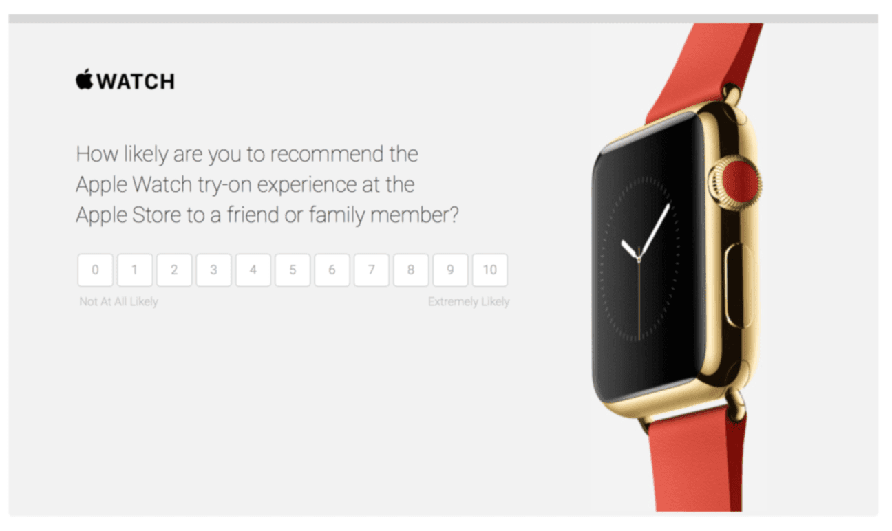 Apple's NPS Survey for measuring customer satisfaction