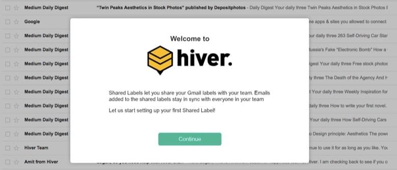 Customer onboarding - Hiver Shared Labels example