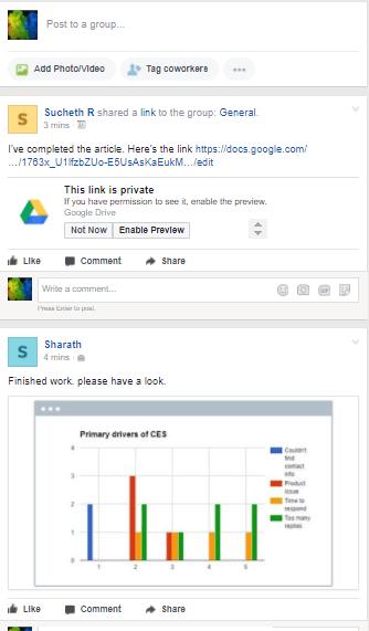 Facebook Workplace newsfeed