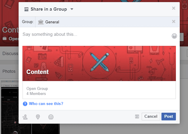 Facebook Workplace share this group
