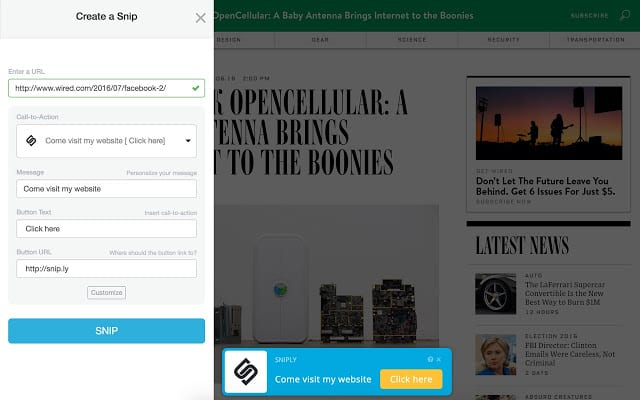 sniply chrome extension
