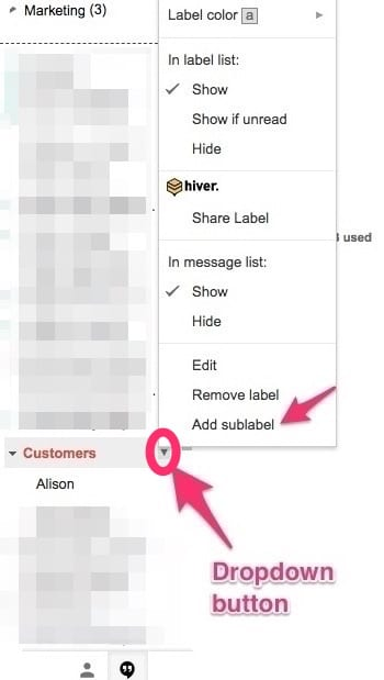 Nested Gmail label - how to add a sublabel
