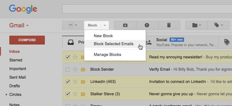 Block sender - chrome extensions for managing emails