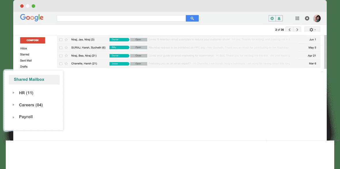 gmail native shared inbox