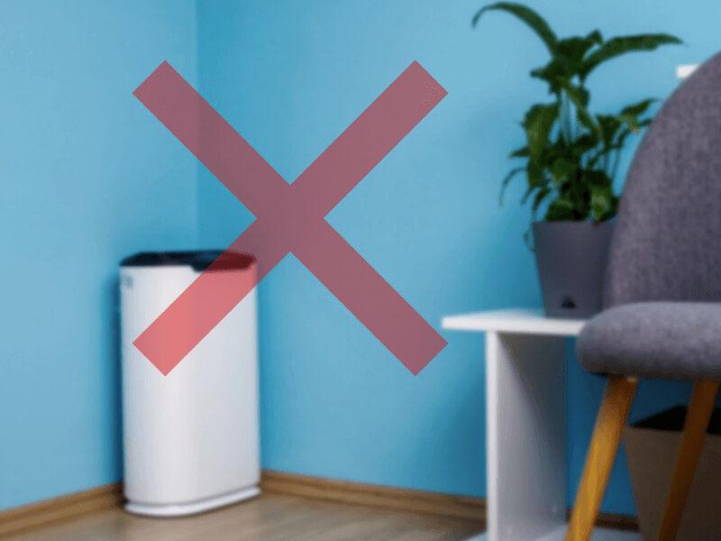 Không nên đặt máy lọc không khí ở góc phòng