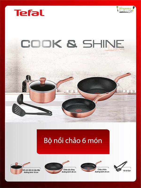 Bộ nồi chảo Tefal Cook&Shine G803S695 6 món