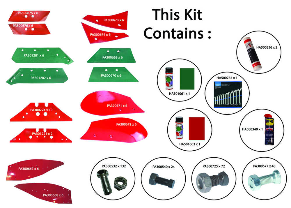 Bundle Kits of Wearing Metal for Kverneland Ploughs