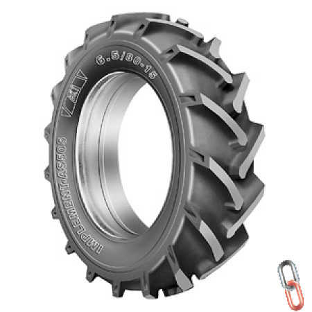 New BKT 6.5/80x15 Cleated Tyre 8 Ply AS505 TL, to suit Vaderstad Drills