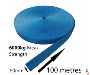 100 metre Roll of 6 tonne Break Strength 50mm GWS Blue Ratchet Strap Webbing