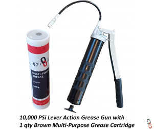 Grease Gun Heavy Duty Lever Action with 1 Grease Cartridges, 400g/14oz Cartridge, Multi Purpose Grease