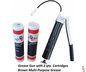 Grease Gun Heavy Duty Lever Action with 2 Grease Cartridges, 400g/14oz Cartridge, Multi Purpose Grease